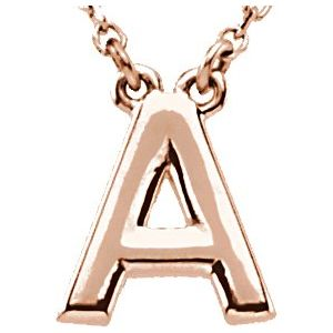 """14K Rose Block Initial A 16"""" Necklace"""