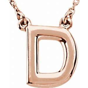 "14K Rose Block Initial D 16"" Necklace"