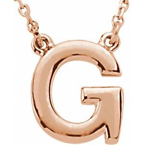 """14K Rose Block Initial G 16"""" Necklace"""