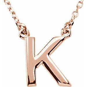"14K Rose Block Initial K 16"" Necklace"