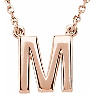 "14K Rose Block Initial M 16"" Necklace"