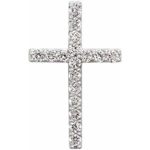 14K White 1/6 CTW Petite Diamond Cross Pendant