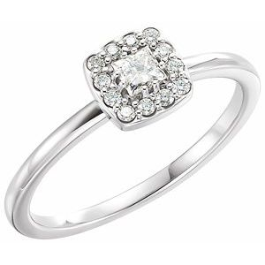 14K White 1/4 CTW Diamond Stackable Ring