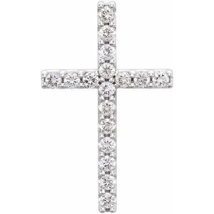 14K White 1/3 CTW Petite Diamond Cross Pendant