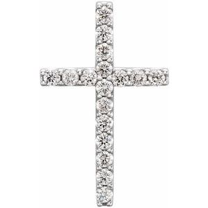 14K White 1/4 CTW Petite Diamond Cross Pendant