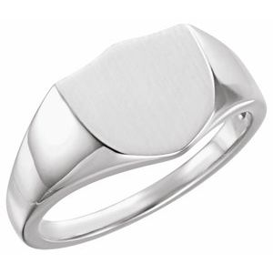 Sterling Silver 11 mm Shield Signet Ring