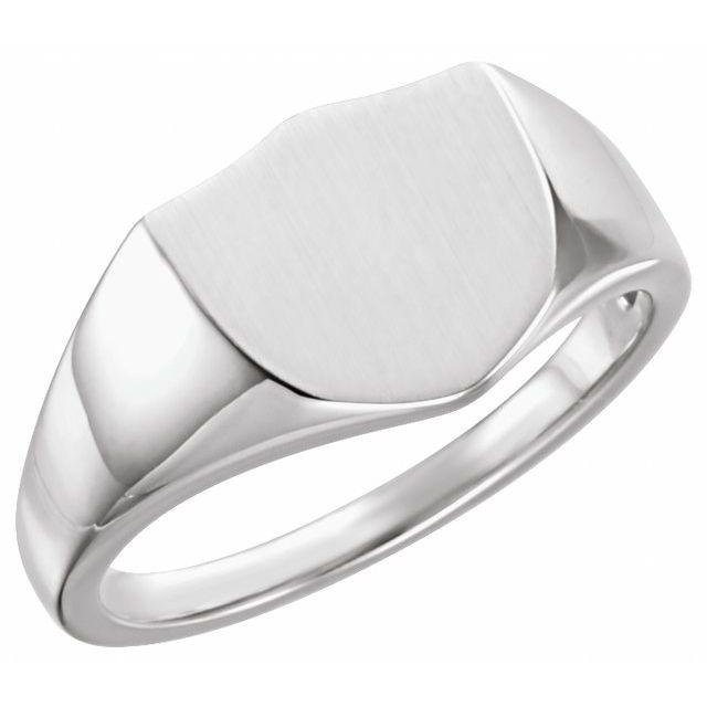 Sterling Silver 11 mm Shield Signet Ring