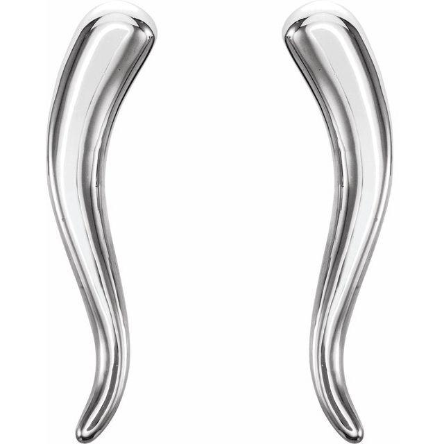 Sterling Silver Horn Earrings
