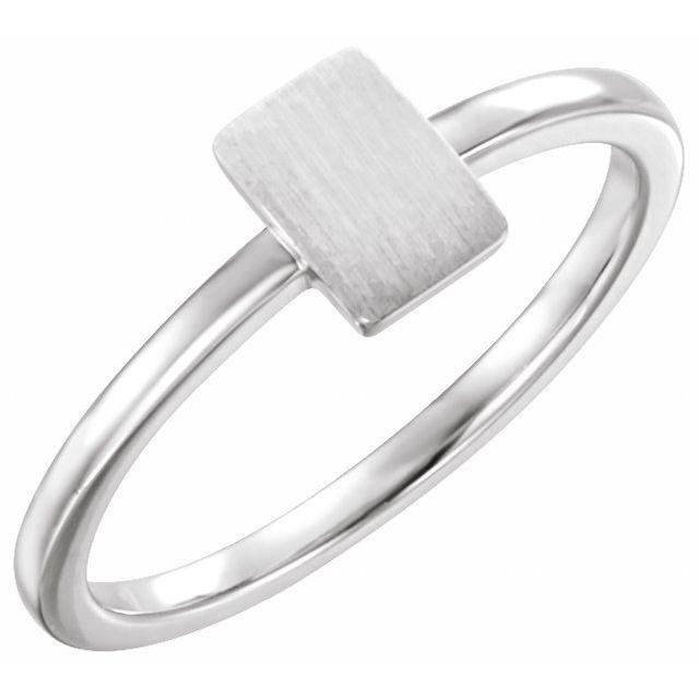 14K White 7x5 mm Rectangle Signet Ring