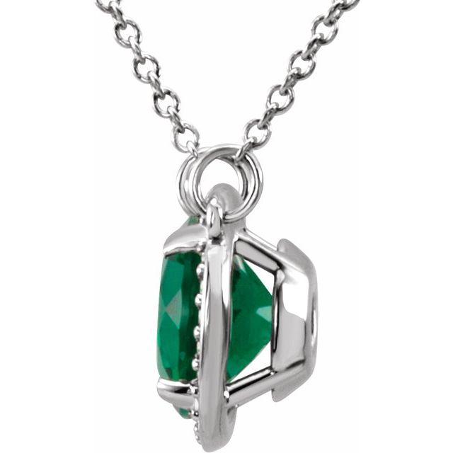 14K White 8 mm Round Lab-Grown Emerald & .05 CTW Diamond 16