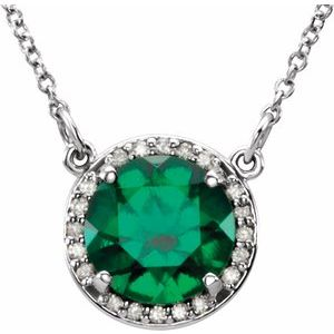 "14K White 8 mm Round Chatham® Created Emerald & .05 CTW Diamond 16"" Necklace"