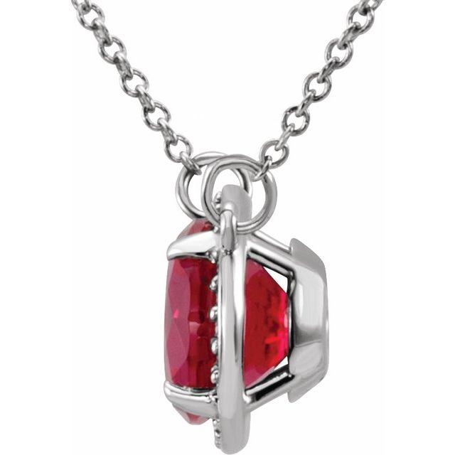 14K White 8 mm Lab-Grown Ruby & .05 CTW Natural Diamond 16