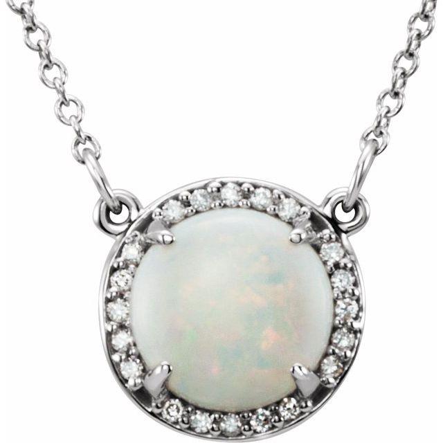 14K White 8 mm Round White Opal & .05 CTW Diamond 16