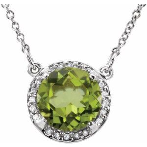 "14K White 8 mm Round Peridot & .05 CTW Diamond 16"" Necklace"