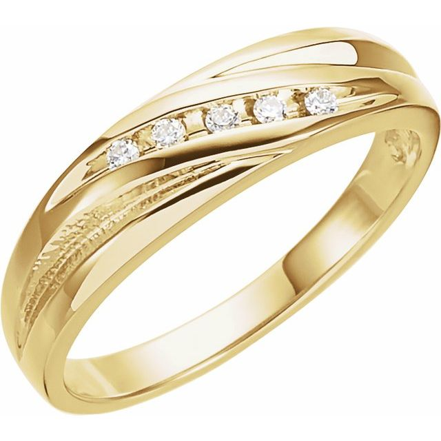 14K Yellow 1/10 CTW Diamond Band