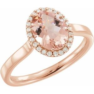14K Rose Morganite & 1/8 CTW Diamond Ring