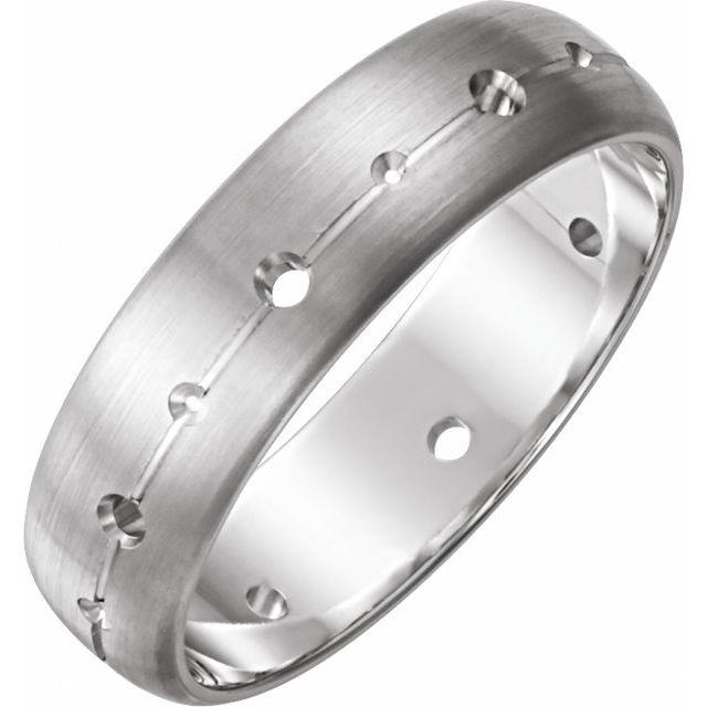 14K White 6 mm 1/2 CTW Diamond Band with Brush Finish Size 7