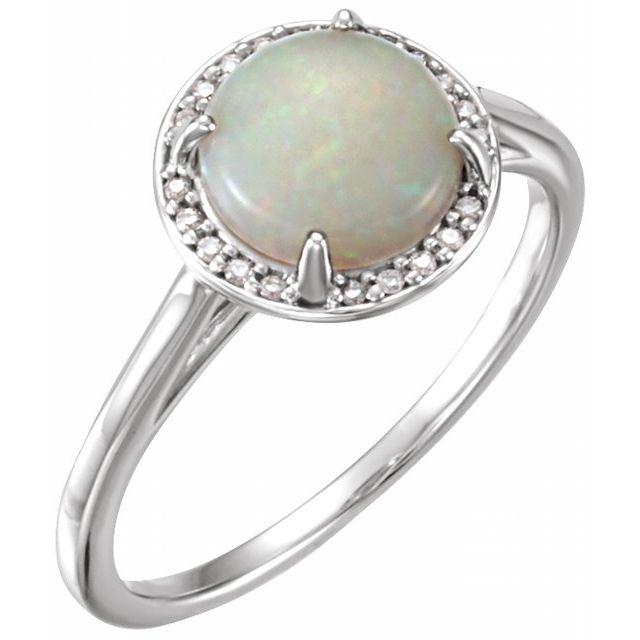 14K White Opal & .05 CTW Diamond Ring