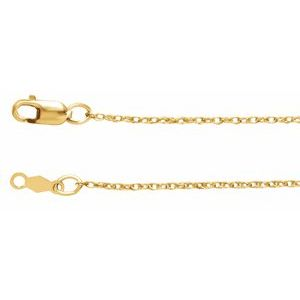 "14K Yellow 1 mm Rope 18"" Chain"