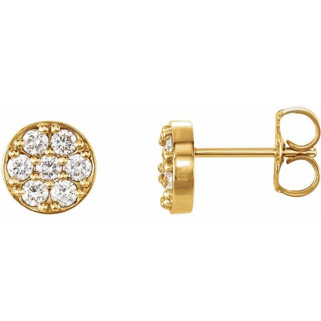 14K Yellow 3/8 CTW Diamond Cluster Earrings