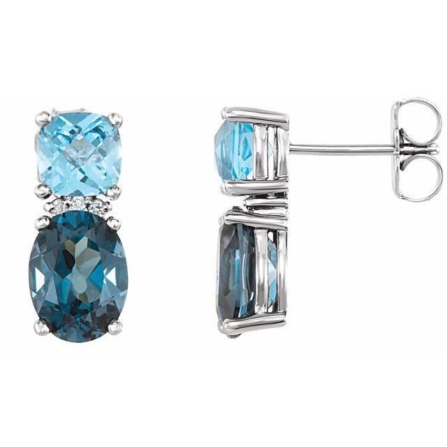 14K White London Blue Topaz, Swiss Blue Topaz & .01 CTW Diamond Earrings