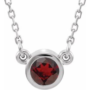 "Sterling Silver 3 mm Round Imitation Garnet Bezel-Set Solitaire 16"" Necklace"