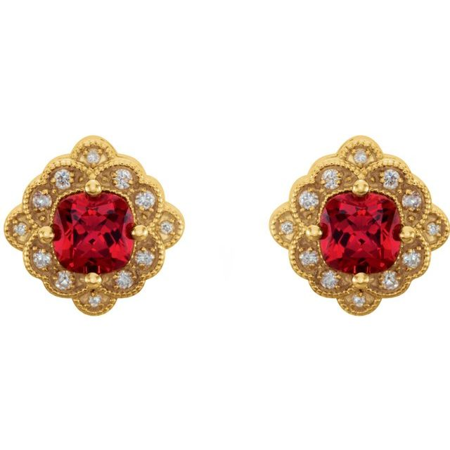 14K Yellow Lab-Grown Ruby & 1/10 CTW Diamond Earrings