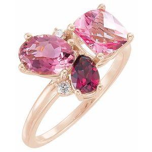 14K Rose Multi-Gemstone & .05 CTW Diamond Cluster Ring