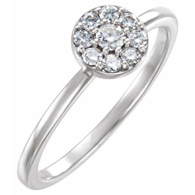 14K White 1/4 CTW Diamond Ring