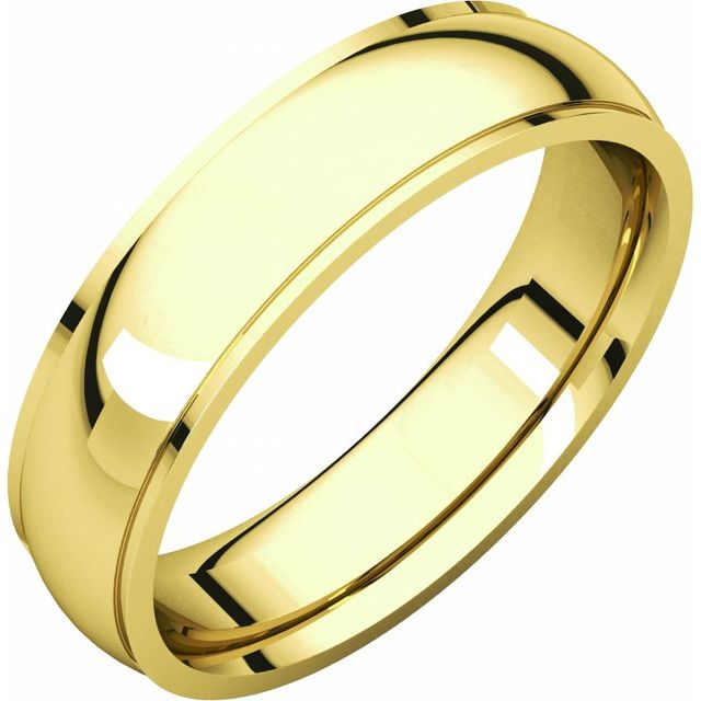 14K Yellow 5 mm Comfort Fit Edge Band Size 7