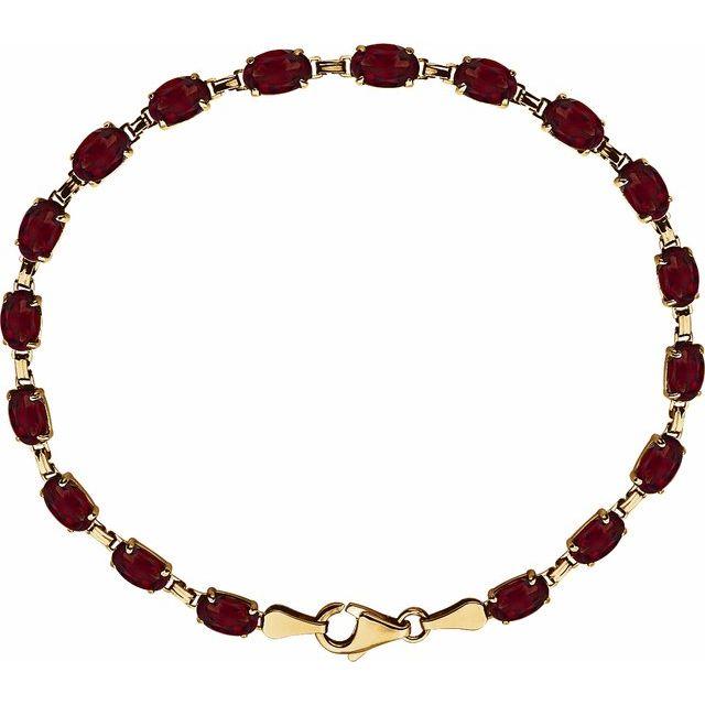 "14K Yellow Mozambique Garnet 7.25"" Bracelet"