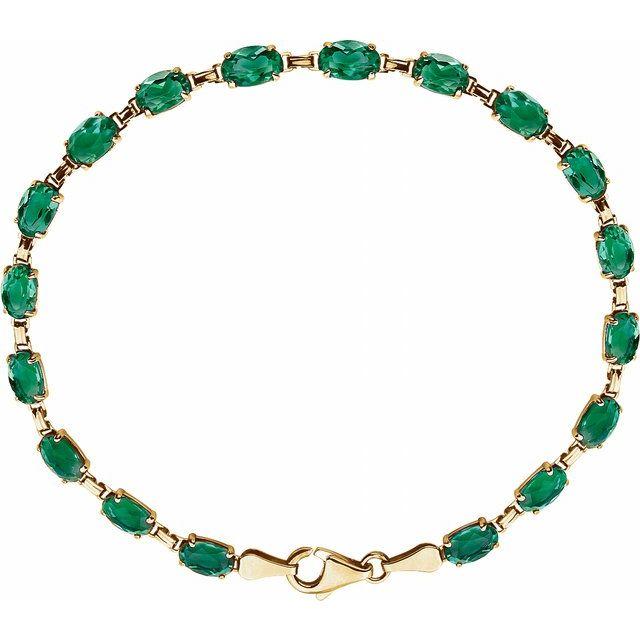 "14K Yellow Lab-Grown Emerald 7.25"" Bracelet"