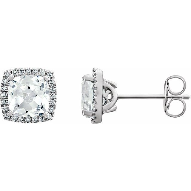 14K White Lab-Created White Sapphire & 1/8 CTW Diamond Earrings