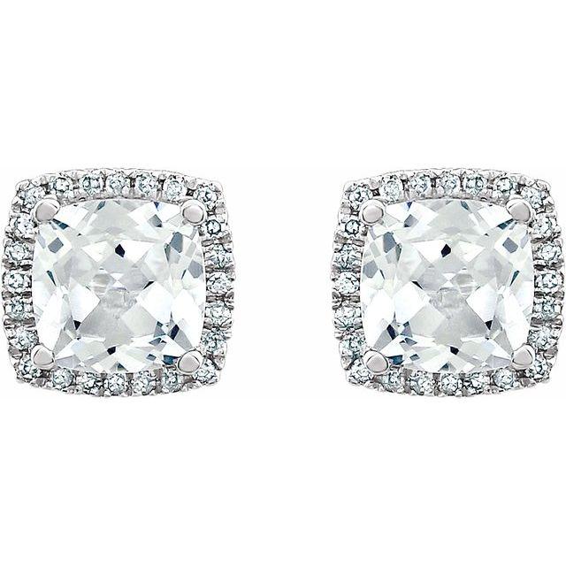 14K White Lab-Grown White Sapphire & 1/8 CTW Diamond Earrings