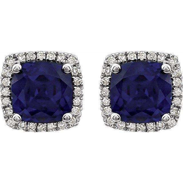 14K White Lab-Grown Blue Sapphire & 1/8 CTW Diamond Earrings