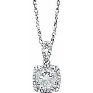 "14K White Created White Sapphire & 1/8 CTW Diamond 18"" Necklace"