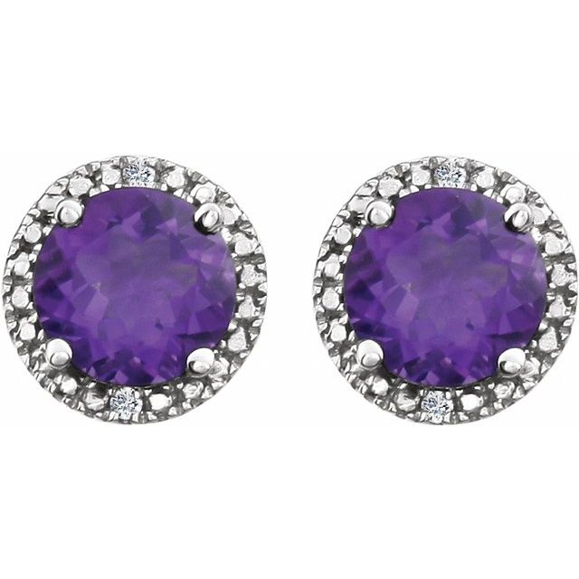Sterling Silver Amethyst & .01 CTW Diamond Earrings