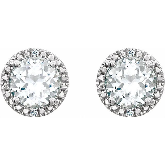Sterling Silver Lab-Created White Sapphire & .01 CTW Diamond Earrings