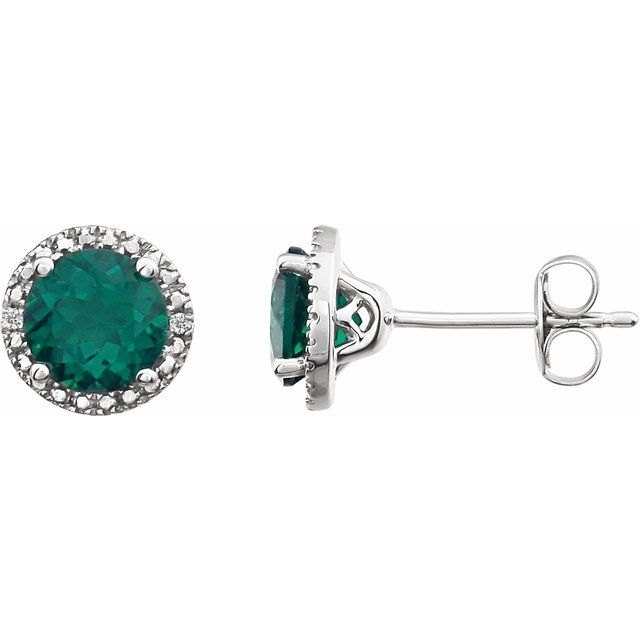 Sterling Silver Lab-Created Emerald & .01 CTW Diamond Earrings
