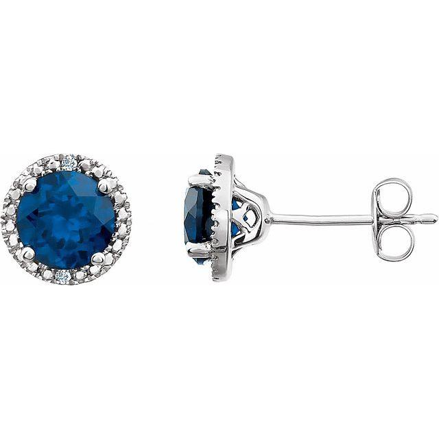 Sterling Silver Lab-Grown Blue Sapphire & .01 CTW Diamond Earrings