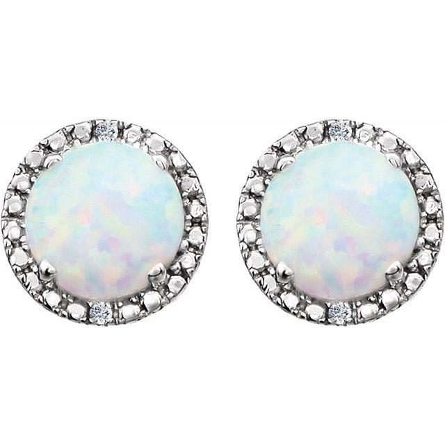 Sterling Silver Lab-Grown Opal & .01 CTW Diamond Earrings