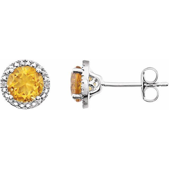 Sterling Silver Citrine & .01 CTW Diamond Earrings