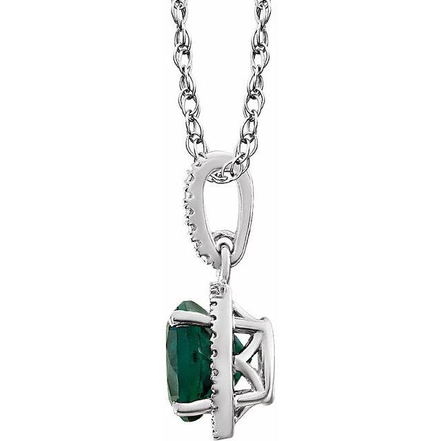 Sterling Silver Lab-Grown Emerald & .01 CTW Diamond 18