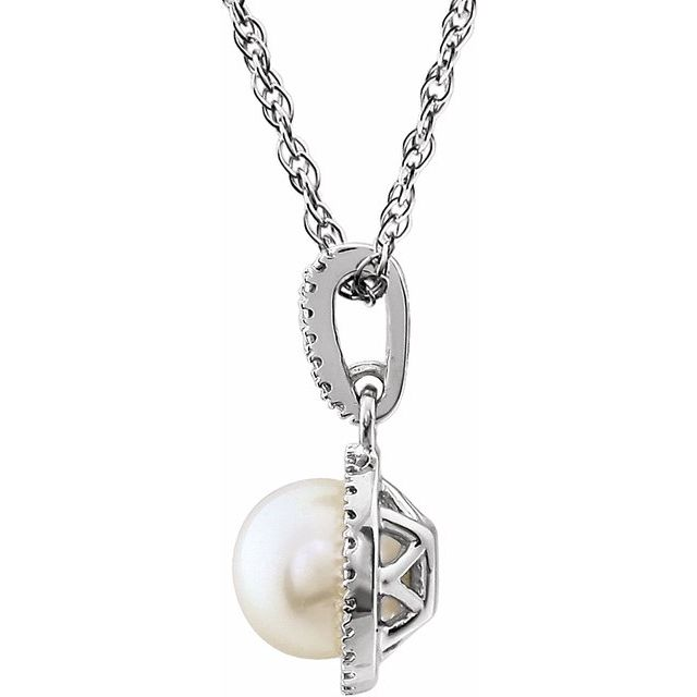 Sterling Silver Freshwater Cultured Pearl & .01 CTW Diamond 18