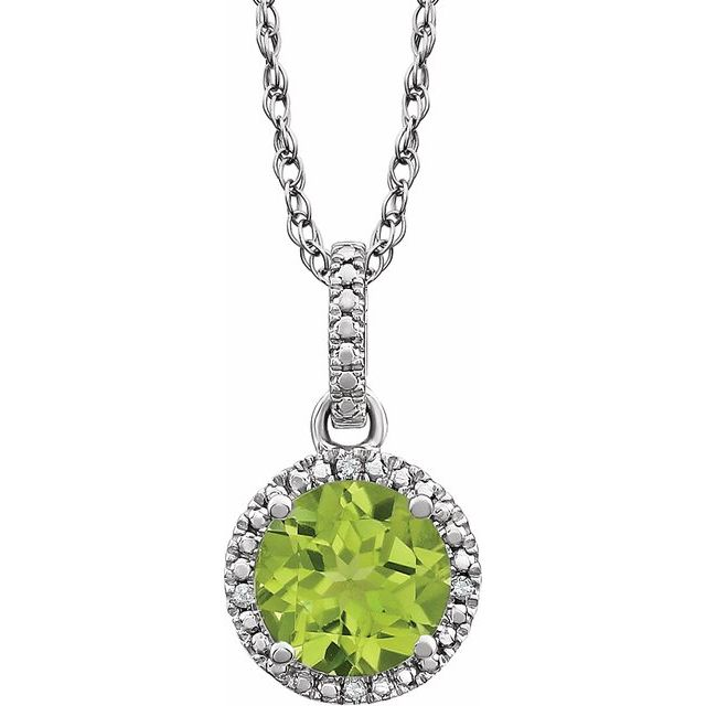 Sterling Silver Peridot & .01 CTW Diamond 18