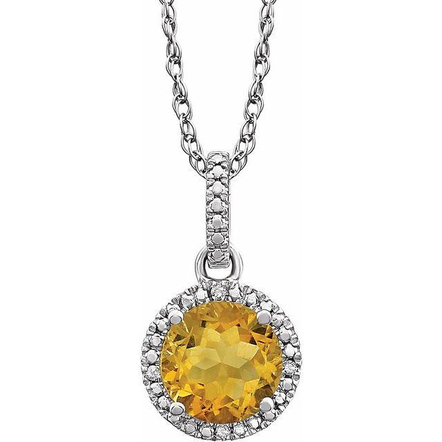 Sterling Silver Citrine & .01 CTW Diamond 18