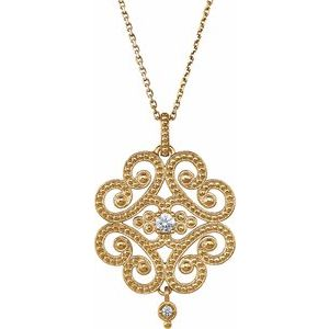 "14K Yellow 1/10 CTW Granulated Design 18"" Necklace"