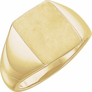 14K Yellow 15x12 mm Rectangle Signet Ring