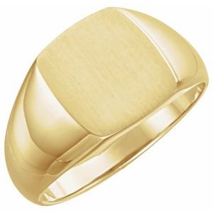 14K Yellow 13x12 mm Rectangle Signet Ring