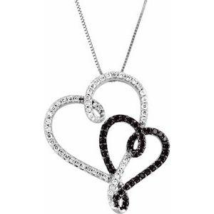 "14K White & Black Rhodium Plated 1/2 CTW Black & White Diamond Double Heart 18"" Necklace"